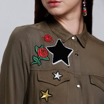 Embroidered Shirt Dress with Long Sleeves
