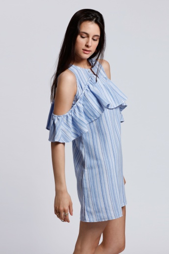 2Xtremz Striped Ruffle Dress with Cold Shoulders