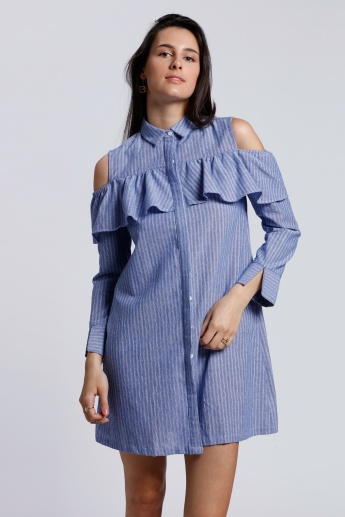 2Xtremz Ruffle Cold Shoulder Shirt Dress with Complete Placket