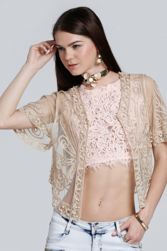 Embroidered Short Sleeves Shrug