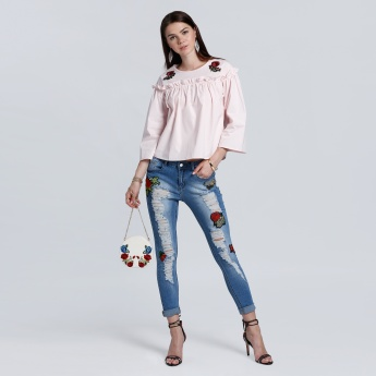 Flower Embroidery Full Length Jeans with Button Closure