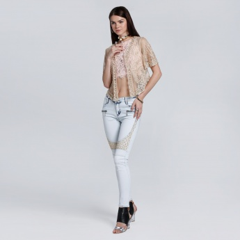 Full Length Jeans with Embroidery and Button Closure