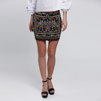 Embroidered Mini Skirt