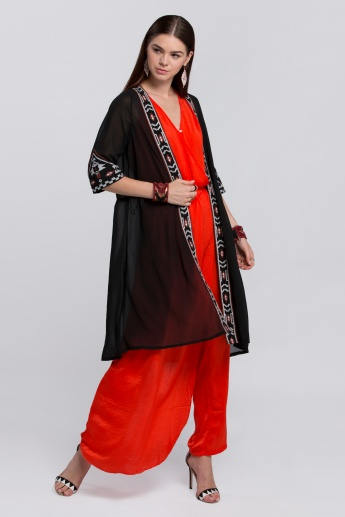 Embroidered Long Kimono with Short Sleeves