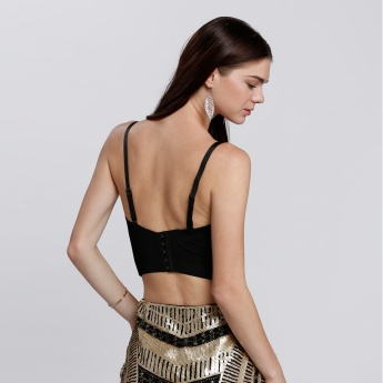 Embellished Sleeveless Crop Top with Sweetheart Neckline