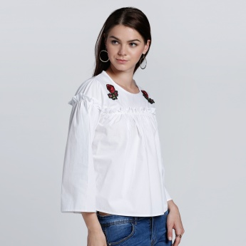 3/4 Sleeves Top with Round Neck and Flower Embroidery