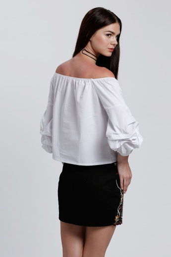 Off Shoulder Top with Bishop Sleeves