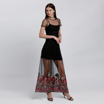 Embroidered Mesh Dress with Short Sleeves