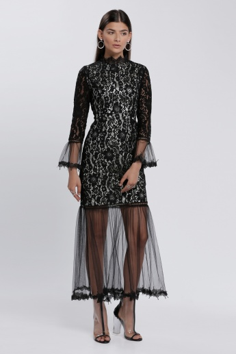 Long Sleeves Lace Detail Dress