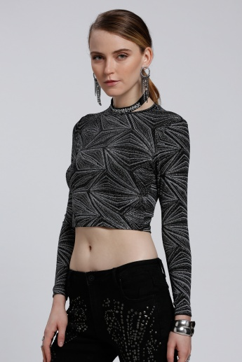 Printed Crop Top with Long Sleeves