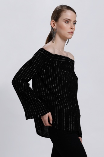 Striped Off Shoulder Top with Long Sleeves
