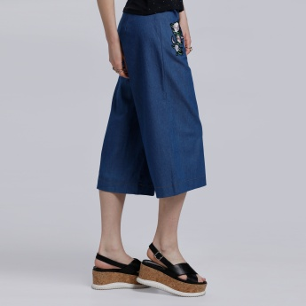 Embroidered Culotte Pants
