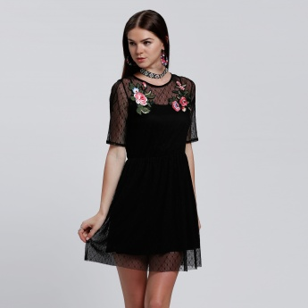 Mesh Midi Dress with Floral Embroidery