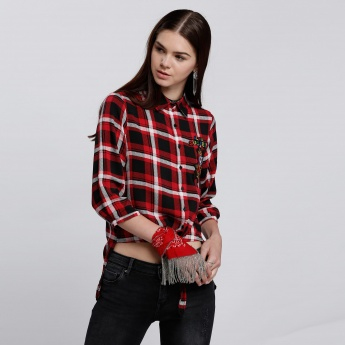 Chequered Shirt with Tie Up Hem and Embroidery