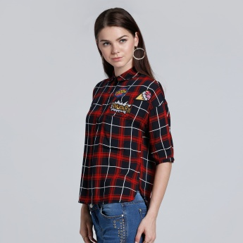 Chequered Shirt with Short Sleeves and Embroidered Applique