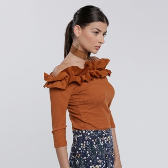 3/4 Sleeves Top with Off Shoulders
