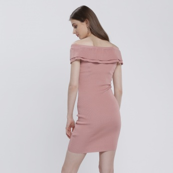 Off Shoulder Double Layered Dress