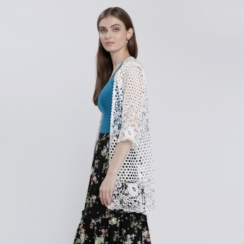 Lace Embroidered Shrug with 3/4 Sleeves