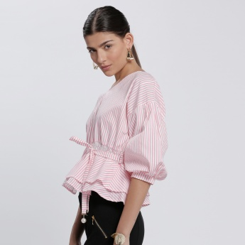 Stripes 3/4 Sleeves Top with V-Neck