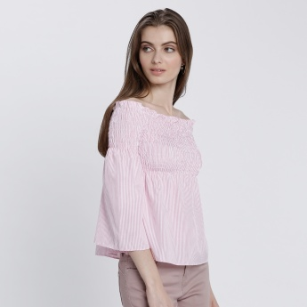 Striped Off-Shoulder Top with 3/4 Sleeves