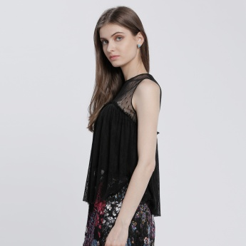 Sleeveless Tulle Top with Round Neck