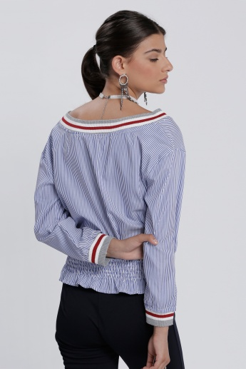 Printed Top with Long Sleeves and Elasticised Hem
