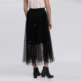 Embellished Mesh Skirt with Elasticised Waistband