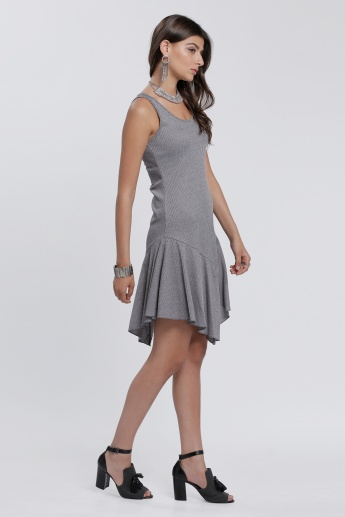 Ribbed Sleeveless Dress with Uneven Hem