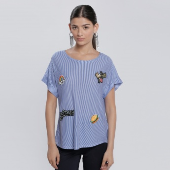 Printed Top with Embroidery and Round Neck