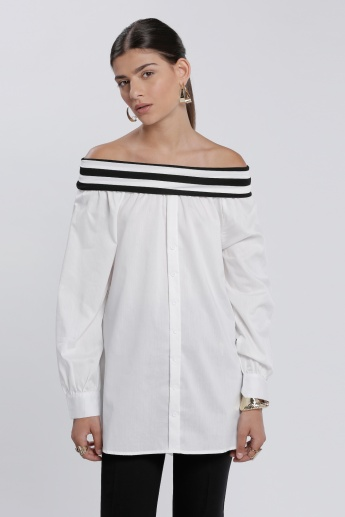 Striped Off-Shoulder Shirt with Long Sleeves