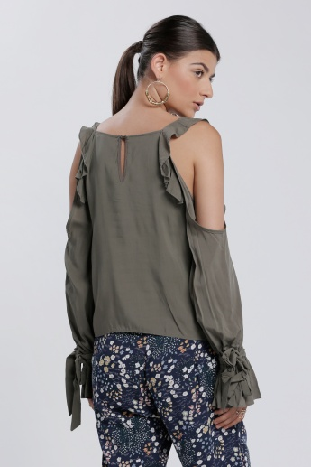 Boat Neck Off Shoulder Top with Long Sleeves