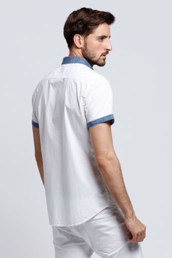 Being Human Short Sleeves Shirt with Contrasting Placket