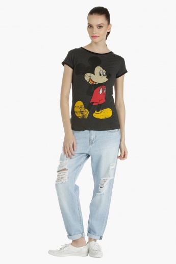 Mickey Mouse Printed Knitted T-Shirt