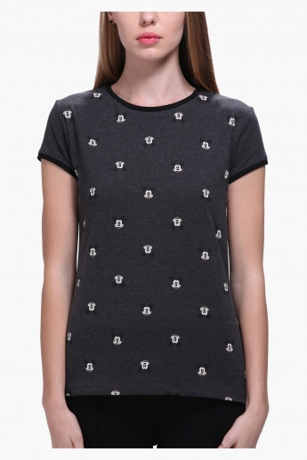 Mickey Mouse All Over Print T-Shirt with Short Sleeves