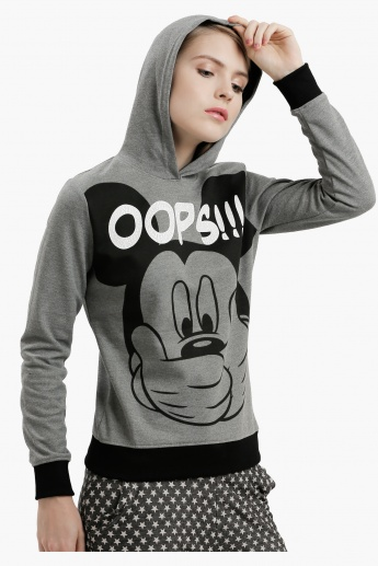 Mickey Mouse Printed Sweatshirt with Long Sleeves
