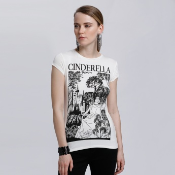 Cinderella Printed T-Shirt with Round Neck and Short Sleeves