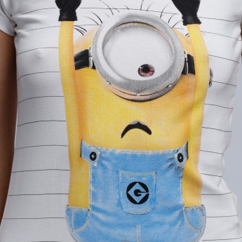 Despicable Me Printed T-Shirt with Round Neck and Short Sleeves