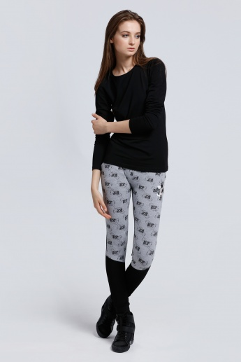 Mickey Mouse Printed Joggers with Elasticised Waistband