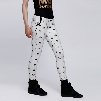 Mickey Mouse Printed Pants with Elasticised Waistband