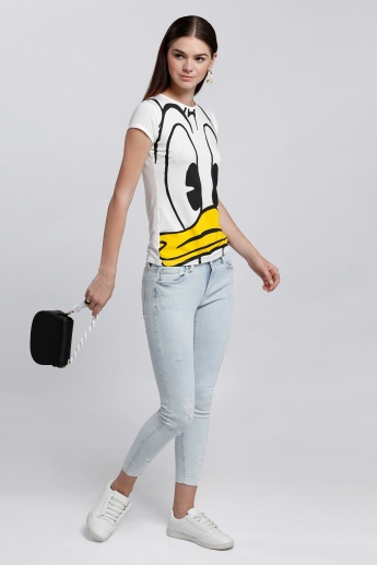 Donald Duck Printed T-Shirt with Short Sleeves and Round Neck