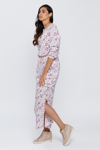 Floral Print Maxi Dress with Three Quarter Sleeves