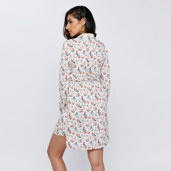 Floral Print Shirt Dress with Long Sleeves