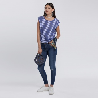 Striped T-Shirt with Cap Sleeves and Round Neck