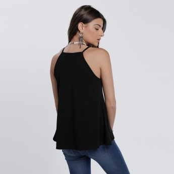 Printed Sleeveless Top with Round Neck