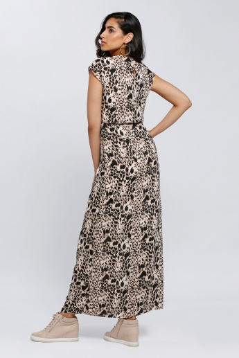 Leopard Print Maxi Dress with Cap Sleeves