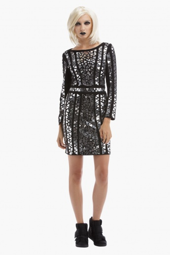 BLACK by Splash Mirror Embellished Shift Dress