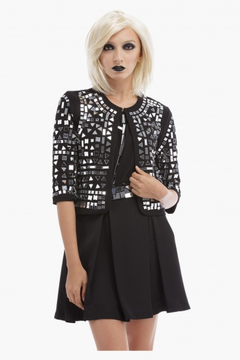 BLACK by Splash Mirror Embellished Jacket with Open Front