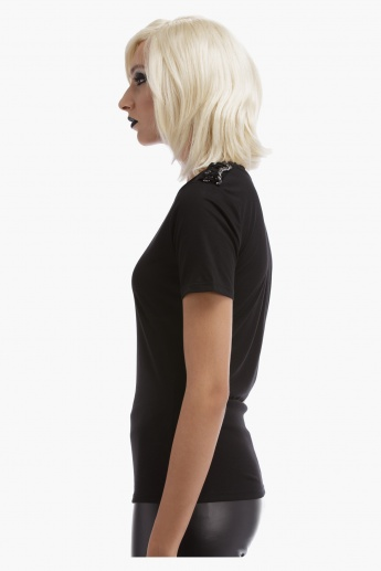 BLACK by Splash Short Sleeves Top with Chain Detail