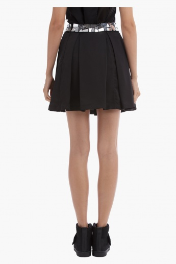 BLACK by Splash Mirror Embellished Mini Skirt with Pleats