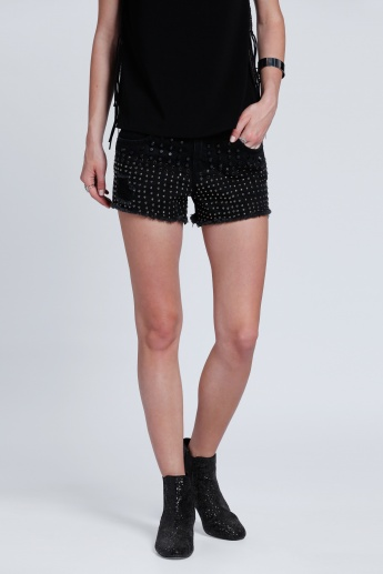 Studded Denim Shorts with Fringes